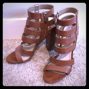 Camel Colored High Heel Sandals Size 7.5